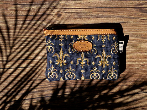431.9 Pochette plate Fleurs de Lys bleu