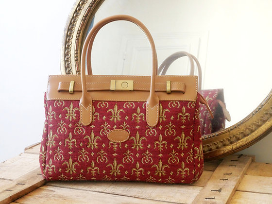 Sac à main Fleurs de lys Royal Tapisserie coussin fabriqué france murale handbag lilies tapestry cushion France paris woven