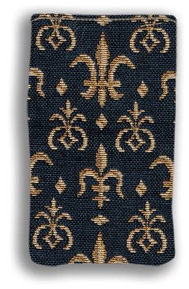 404.9 Etui à lunettes Fleurs de Lys bleu
