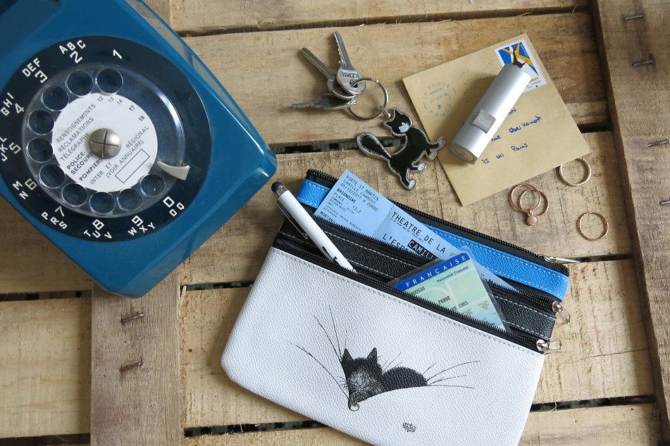 Les chats de dubout sac pochette trousse porte-clé porte-monnaie chats cats handbag shopping bag pencil case coin purse france