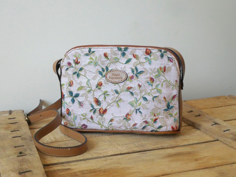 """Sac bandoulière de la collection """"Printemps"""" (ref 8901.85) Royal Tapisserie / Shoulder bag tapestry"""