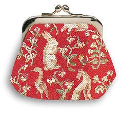 coin purse tapestry Royal Tapisserie France mille fleurs La Dame à la licorne the lady and the unicorn cushion handbag rabbit made in france fabriqué en france