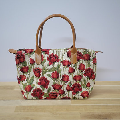 Olivia Sac à main Roses Rouges cuir naturel