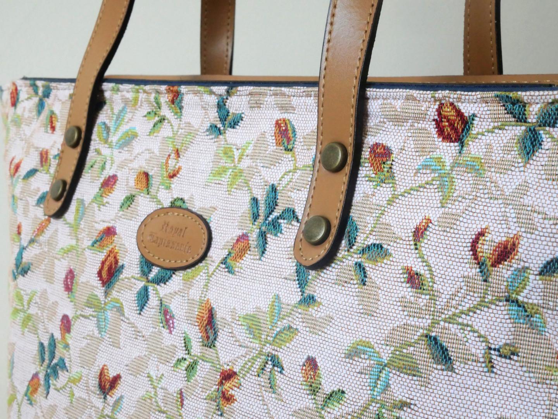 "Sac shopping de la collection ""Printemps"" (ref 8976.85) Royal Tapisserie / Shopping bag tapestry"