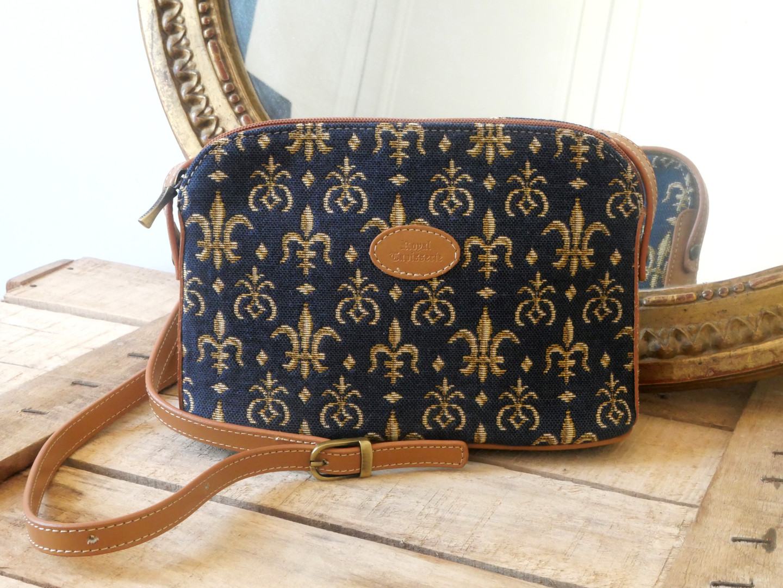 """Sac bandoulière de la collection """"Fleurs de Lys bleu"""" (ref 8901.9) Royal Tapisserie / Shoulder bag tapestry"""