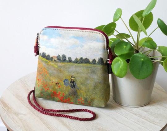 """Maison Martin par Royal Tapisserie petit sac cordon """"Les Coquelicots"""" de Claude Monet (référence 8971M2)"""