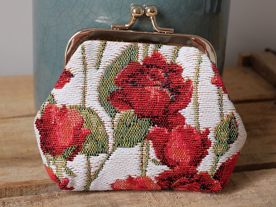 porte monnaie trousse coussin Royal Tapisserie roses tapestry handbag coin purse pencil case pouch cushion made in france
