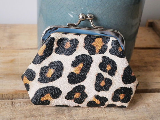 Porte monnaie leopard panthere pochette trousse etui lunette sac à main pencil case handbag coin purse glasses