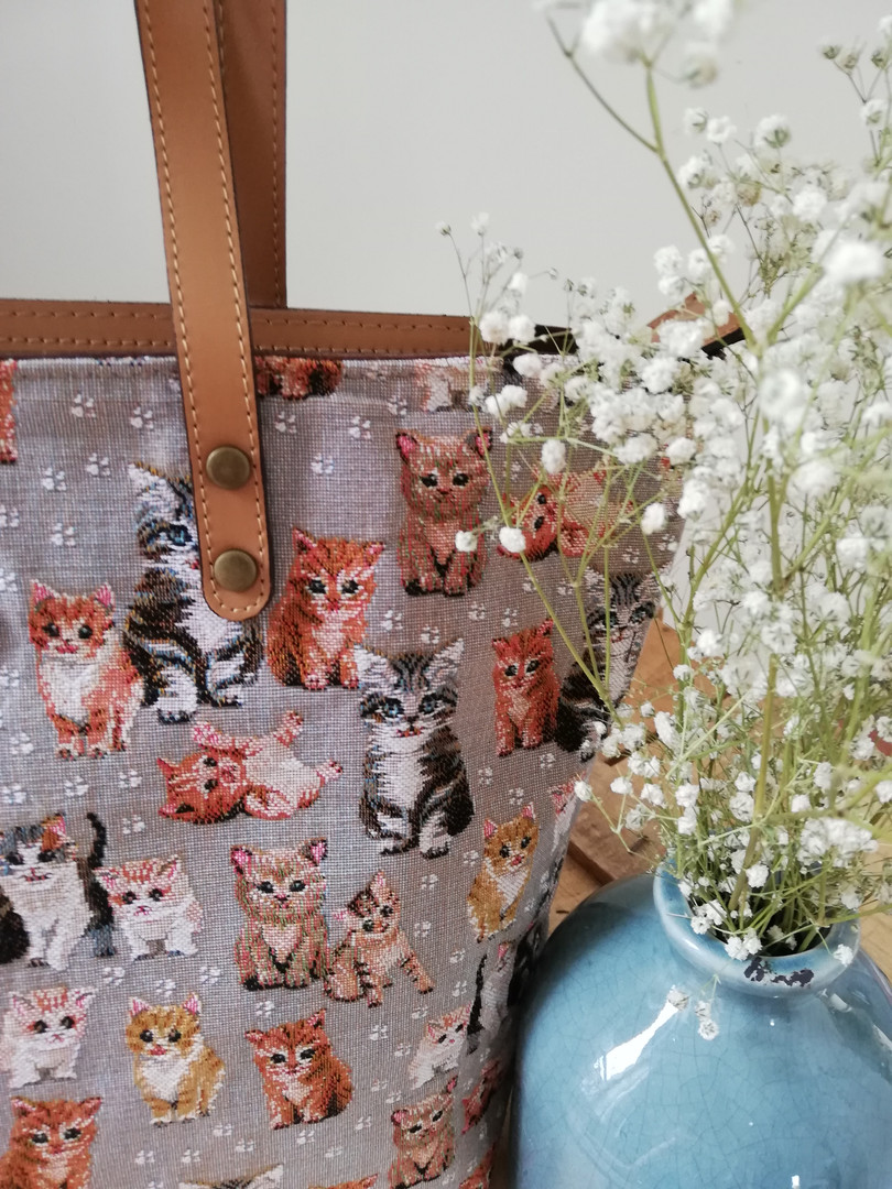"""Sac shopping de la collection """"Chatons"""" (ref 8976.71) Royal Tapisserie / Shopping bag tapestry"""