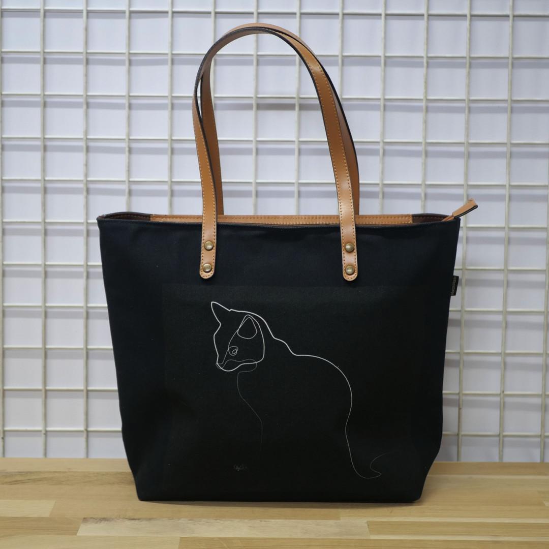 """Sac shopping QUIBE """"Chat Noir"""" Référence 8976CN"""