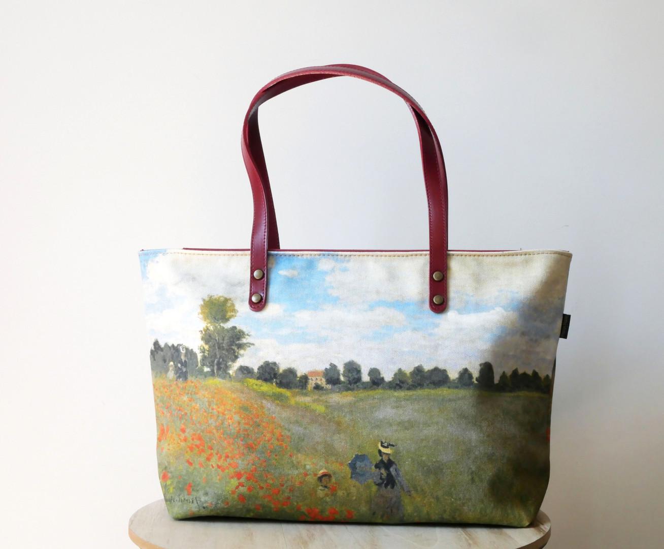 """Maison Martin par Royal Tapisserie sac shopping """"Les Coquelicots"""" de Claude Monet (référence 8975M2)"""