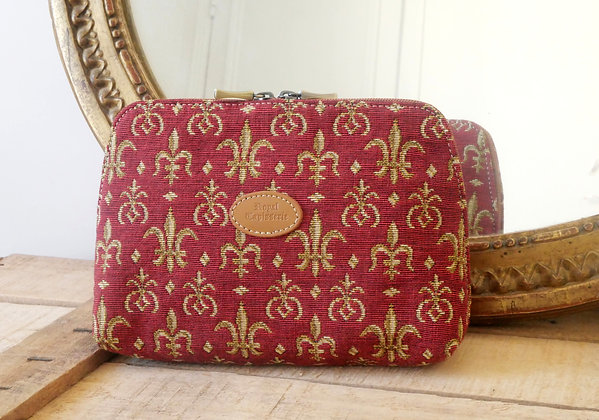 Royal tapisserie fleurs de lys coussin sac trousse de toilette fabriqué en france tissu jacquard paris