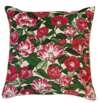 coussin tapisserie pivoine fleurs décoration murale royal tapisserie sac fabriqué en france versailles tapisserie chateaux