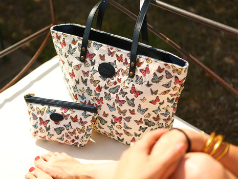 """Sac shopping de la collection """"Papillons"""" (ref 8976.68) Royal Tapisserie / Shopping bag tapestry"""
