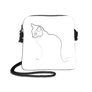 """Petit sac cordon Quibe """"Chat"""" fond blanc  Référence 8971CB"""
