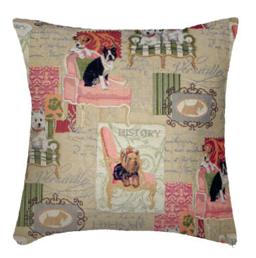 coussin tapisserie chiens tissu jacquard royal tapisserie tapestry cushion the dogs royal tapestry