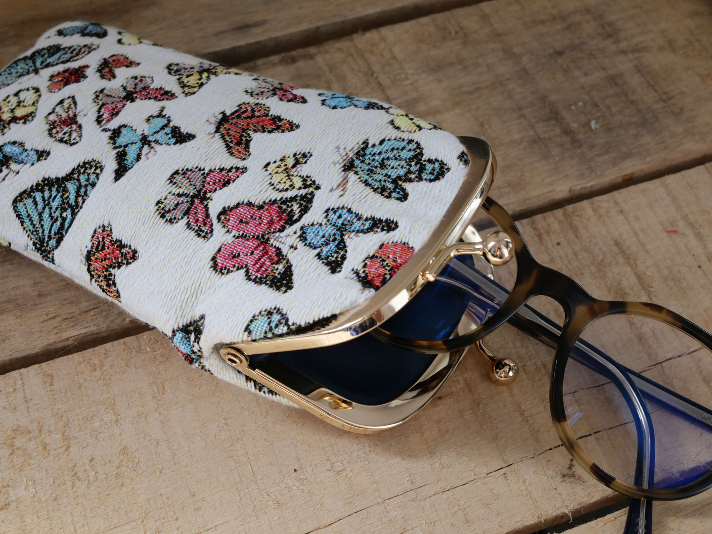 "Etui à lunettes rétro de la collection ""Papillons"" (ref 405.68) Royal Tapisserie / Glasses case tapestry"