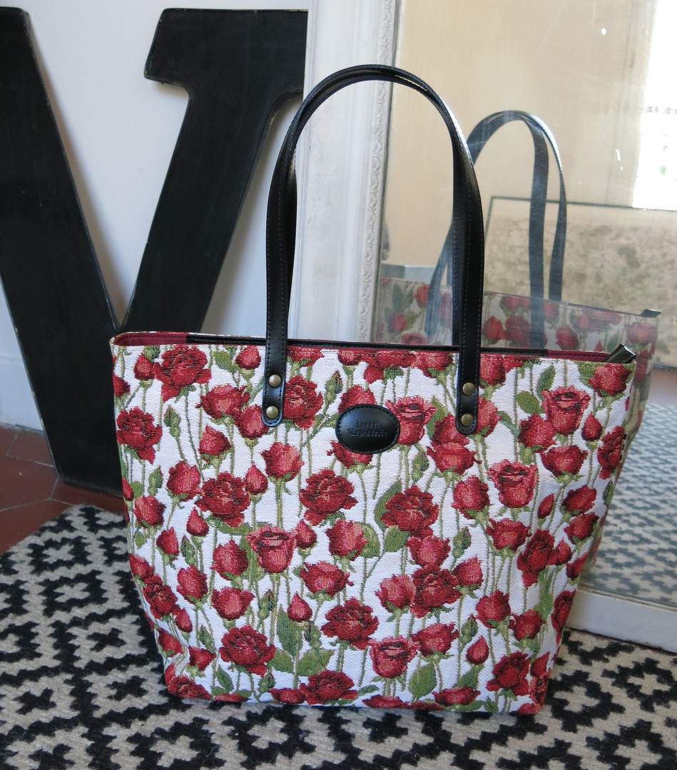 """Sac shopping de la collection """"Roses Rouges"""" (ref 8976.66) Royal Tapisserie / Shopping bag tapestry"""