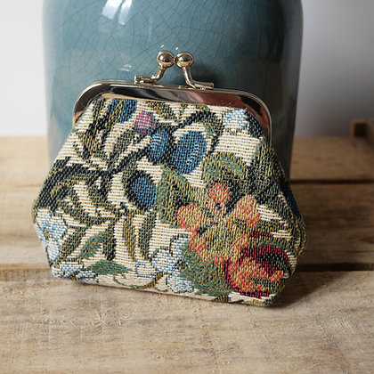 Porte monnaie Fleurs de Prunier Royal Tapisserie sac à main coussin handbag tapestry cushion coin purse France