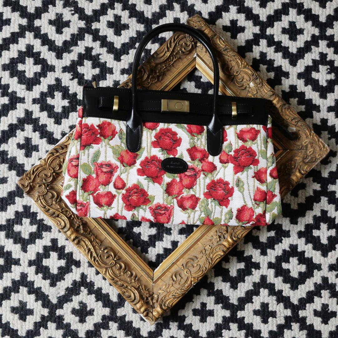 """Sac à main de la collection """"Roses Rouges"""" (ref 8967.66) Royal Tapisserie / Handbag tapestry"""