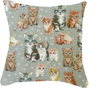 coussin tapisserie chats les chatons tissu jacquard royal tapisserie tapestry cushion cats the kittens royal tapestry