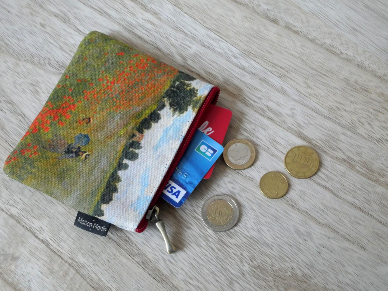 """Maison Martin par Royal Tapisserie porte-monnaie carré """"Les Coquelicots"""" de Claude Monet (référence 438M2)"""