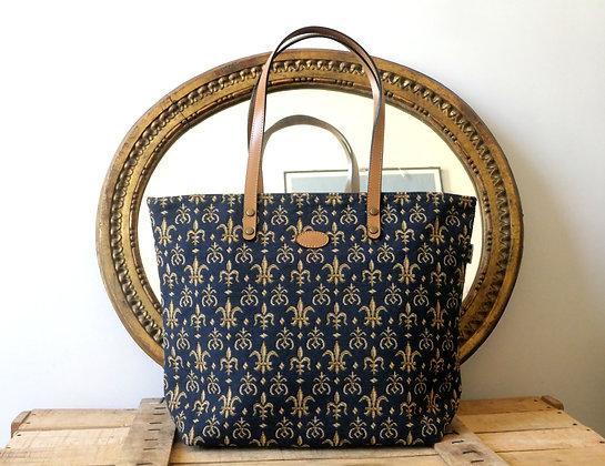 8976.9 Sac shopping Fleurs de Lys bleu
