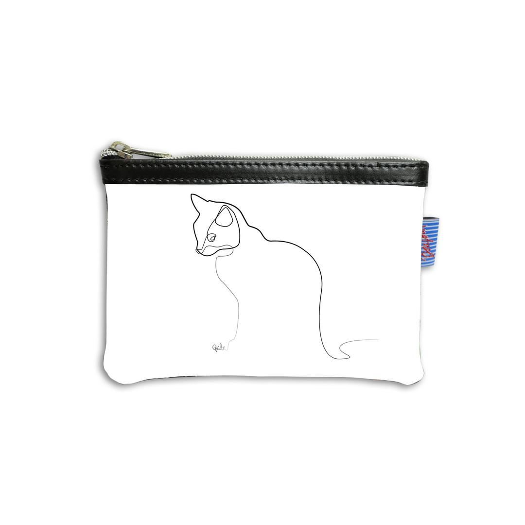 "Pochette Quibe dessin ""Chat blanc"" - Maison Martin par Royal Tapisserie"