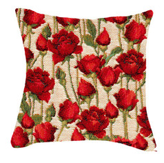 Coussin Roses Rouges - Royal Tapisserie cushion tapestry Red roses