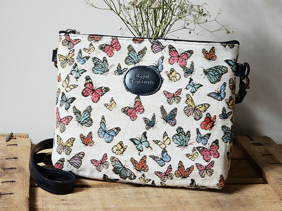 Sac à main trousse Royal Tapisserie papillons tapestry handbag butterflies butterfly pencil case pouch cushion made in france
