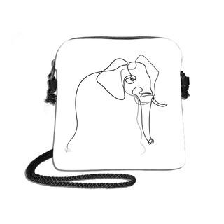"Petit sac cordon Quibe ""Eléphant"" fond blanc  Référence 8971EB"
