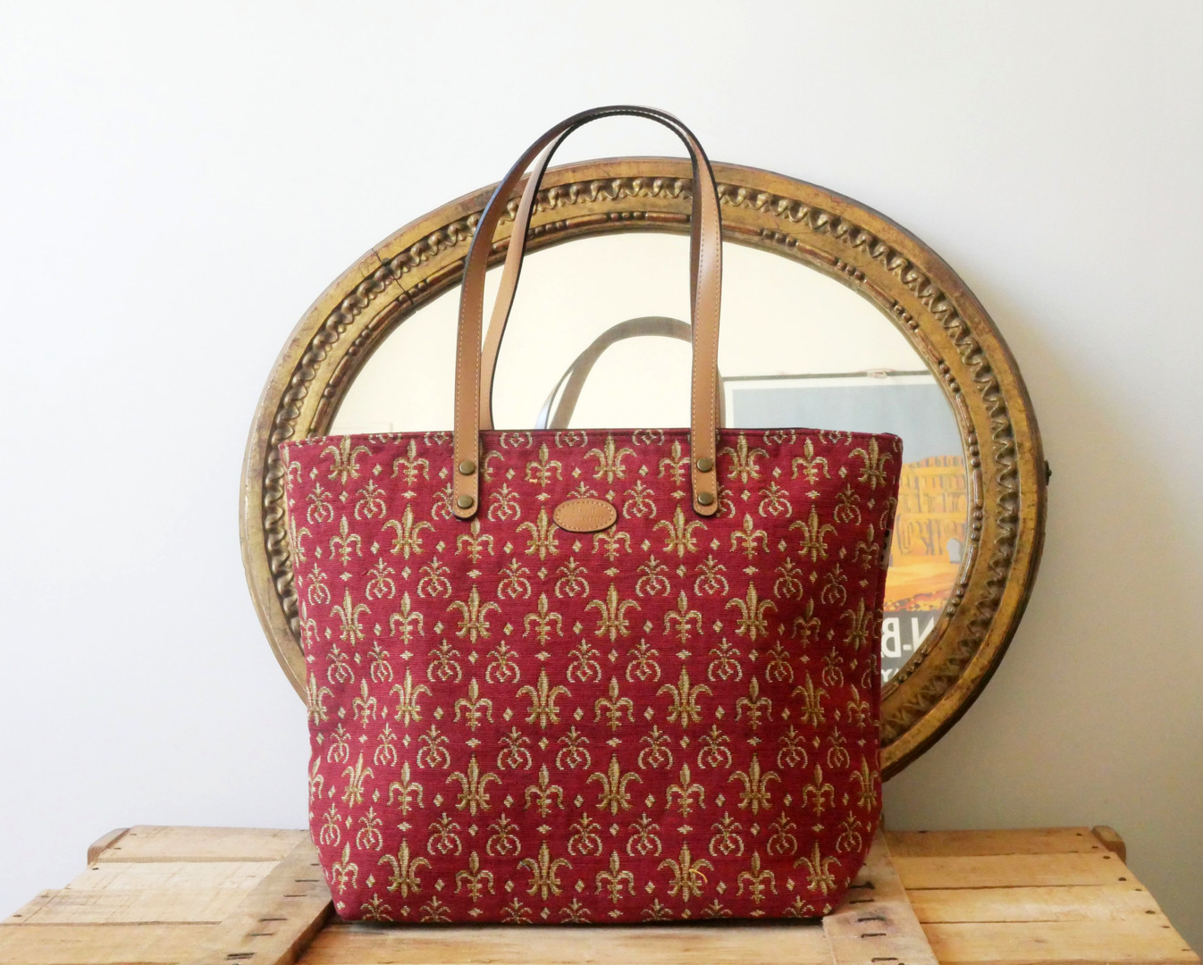 "Sac shopping de la collection ""Fleurs de Lys rouge"" (ref 8976.83) Royal Tapisserie / Shopping bag tapestry"