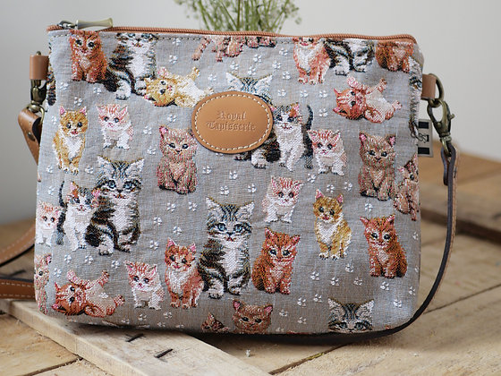 Sac à main chat chatons Royal Tapisserie pochette trousse coussin handbag tapestry cushion pencil case cat kittens France