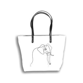 """Sac shopping Quibe """"Eléphant"""" fond blanc  Référence 8976EB"""