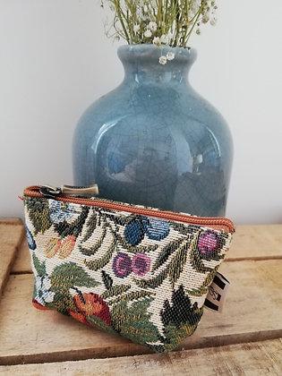 Porte monnaie Fleurs de Prunier Royal Tapisserie sac à main coussin handbag tapestry cushion coin purse France
