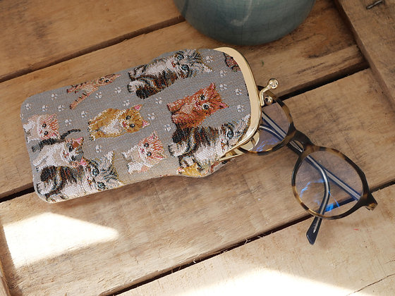 Etui lunettes chat chatons Royal Tapisserie pochette trousse coussin handbag tapestry cushion pencil case glasses cat kitty