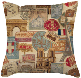 coussin tapisserie voyage france jacquard royal tapisserie tapestry cushion french travel royal tapestry