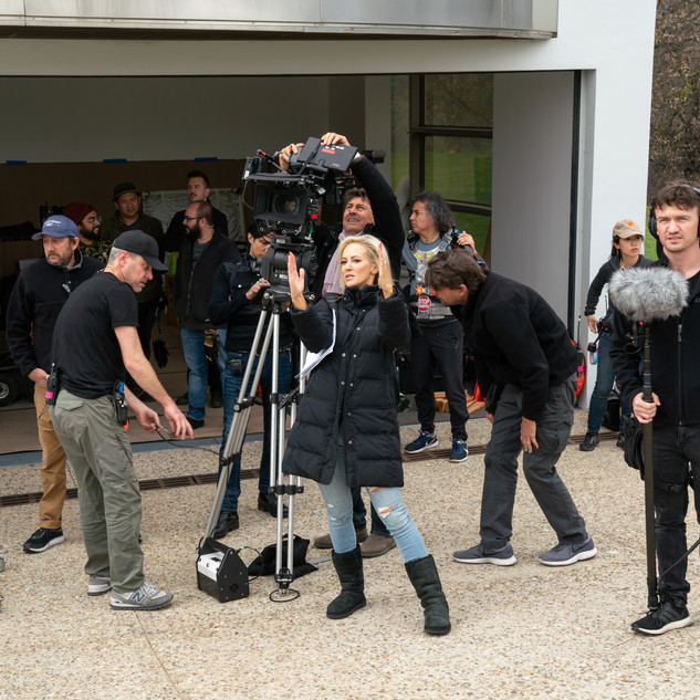 Louise Linton directing the crew on the set of Me, You, Madness