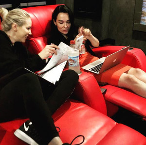 Kristen And Louise working together on Stormchaser behind the scenes