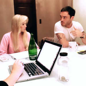 Louise linton and Ed Westwick discussing the film Me, You, Madness