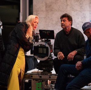 Louise Linton and crew on set of Me, You, Madness