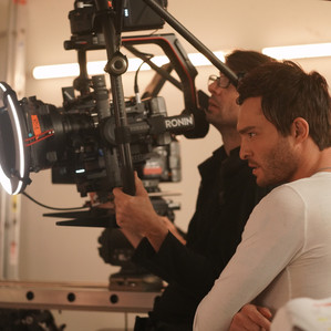 Ed Westwick on the set of Me, You, Madness