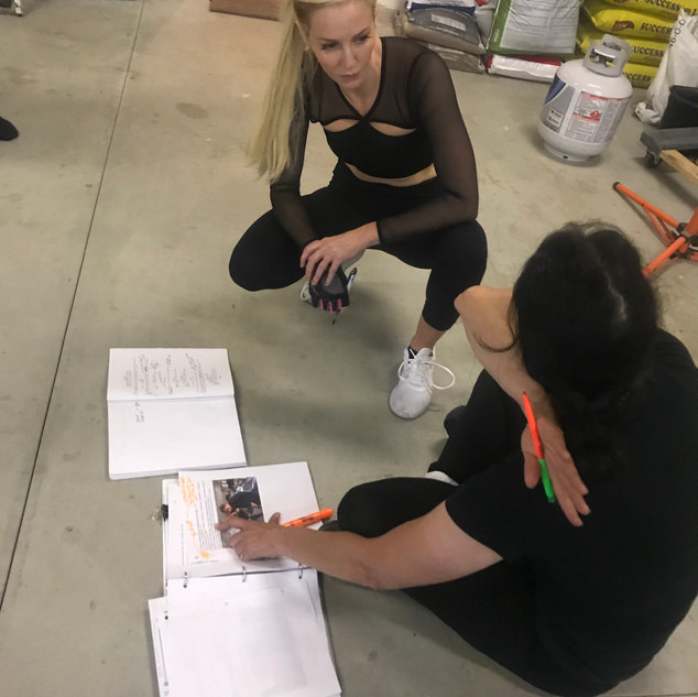 Louise Linton and stunt-coordinator behind the scenes