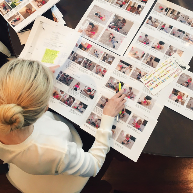 Louise Linton going over storyboards for the film Me, You, Madness