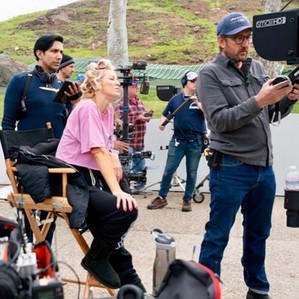 Louise Linton in the directess seat on-set of the film Me, You, Madness