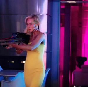 Still of Louise on set