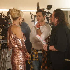 Ed Westwick, Louise Linton and Joshua Lou Friedman behind the scenes of Me, You, Madness