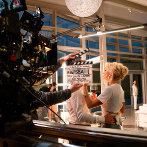 Louise Linton on the set of Me, You, Madness