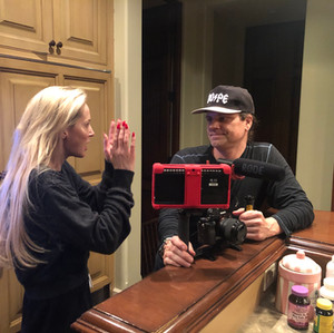 Louise Linton and Travis Zariwny behind the scenes of Me, You, Madness