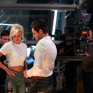 Louise Linton and Ed Westwick on the set of Me, You, Madness
